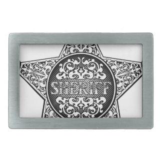 Sheriff Star Badge Western Style Rectangular Belt Buckle