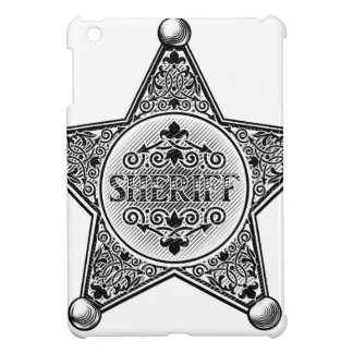 Sheriff Star Badge Woodcut Style Cover For The iPad Mini