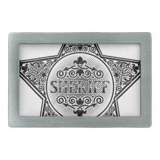 Sheriff Star Badge Woodcut Style Rectangular Belt Buckles