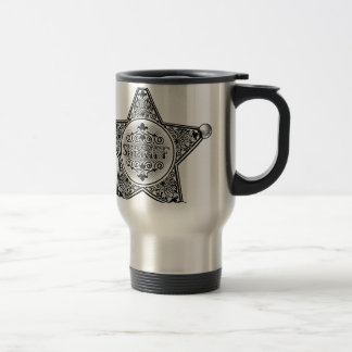 Sheriff Star Badge Woodcut Style Travel Mug