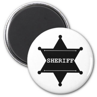 Sheriff Star - Black & White Fridge Magnets