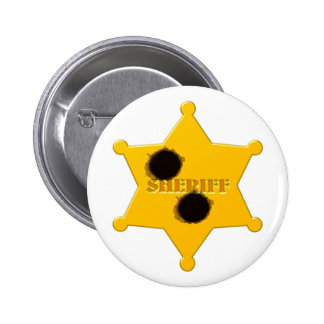 Sheriff star of bullet holes sheriff's star bullet 2 inch round button