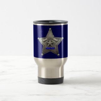 Sheriff Thin Blue Line Badge Travel Mug
