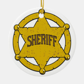 Sheriffs Star Badge Ceramic Ornament