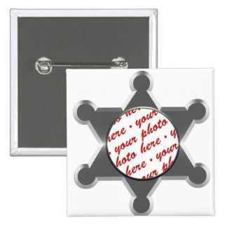 Sheriff's Tin Star Photo Frame Template 2 Inch Square Button