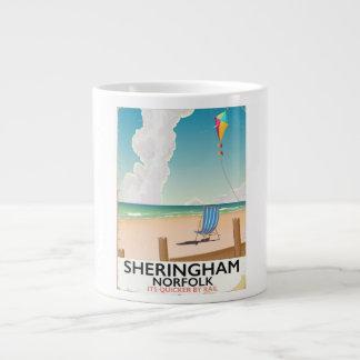 Sheringham Norfolk Beach travel poster Large Coffee Mug