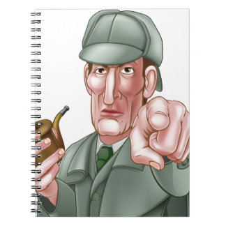 Sherlock Holmes Pointing Cartoon Spiral Note Books
