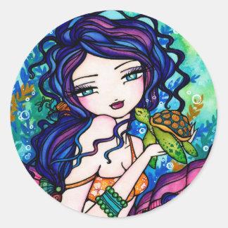 Sherriella Mermaid Fantasy Fairy Turtle Round Sticker