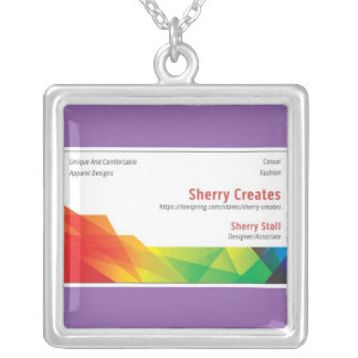 Sherry Creates Large Silver Plated Square Necklace