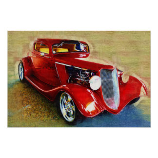 She's a Classic! Beautiful  Red  Car Poster