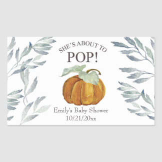 She's About to Pop Pumpkin Baby Shower Label