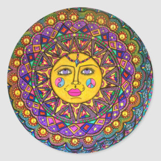 She's Called Sunshine, Sticker, Hippie Art Classic Round Sticker
