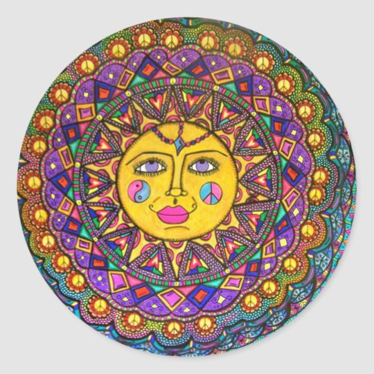 She's Called Sunshine, Sticker, Hippie Art Classic Round Sticker