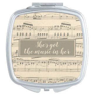 She's Got the Music in Her Antique Sheet Music Vanity Mirror