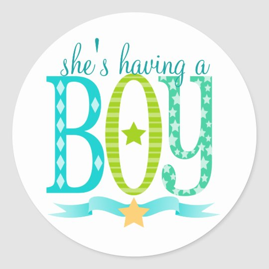 She's Having a BOY - Custom Baby Shower Stickers