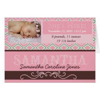 She's Here Customized Baby Announcement Cards