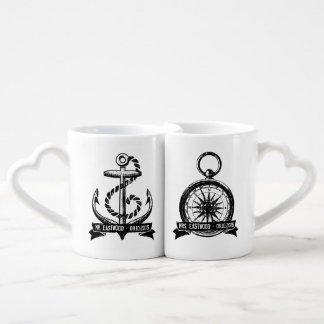 She's My Compass, He's My Anchor Personalized Date Coffee Mug Set