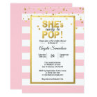 She's Ready to POP Gold Pink Girl Baby Shower Card