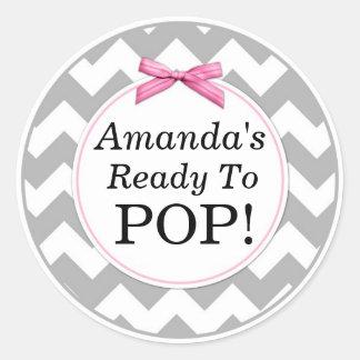 She's Ready to Pop, Gray Chevron, Pink Baby Shower Classic Round Sticker