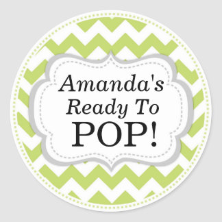 She's Ready to Pop, Green Chevron Baby Shower Round Sticker