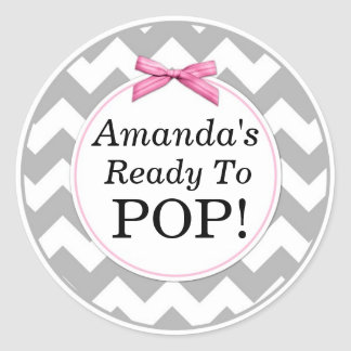 She's Ready to Pop, Grey Chevron, Pink Baby Shower Classic Round Sticker
