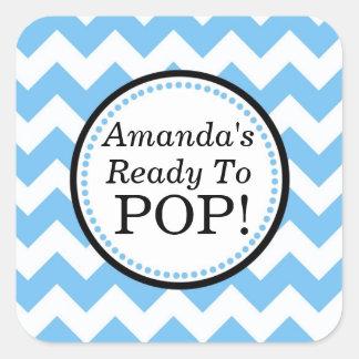 She's Ready to Pop Square sticker - Chevron Design