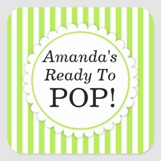 She's Ready to Pop Square sticker - Green Stripes