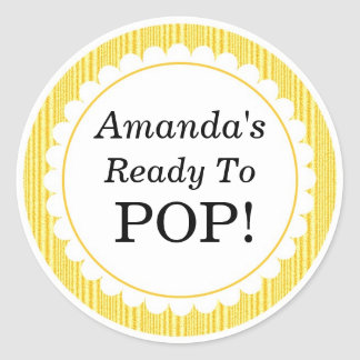 She's Ready to Pop, Yellow Stripes Baby Shower Classic Round Sticker