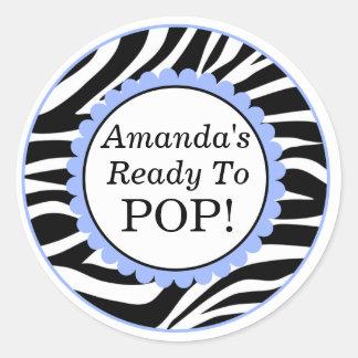 She's Ready to Pop, Zebra Print Baby Shower Classic Round Sticker