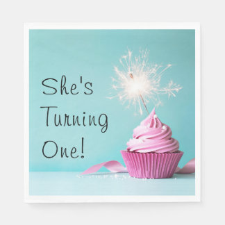 She's Turning One! Napkins - Pink Cupcake Theme Paper Napkins