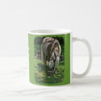 Shetland Pony Photograph Grazing on Lawn. Coffee Mug