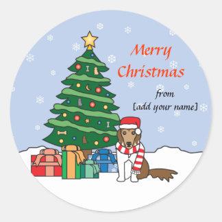 Shetland Sheepdog and Christmas Tree Round Sticker