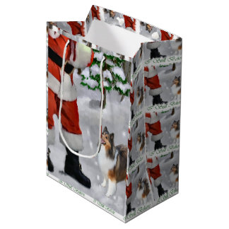 Shetland Sheepdog Believe Christmas Medium Gift Bag