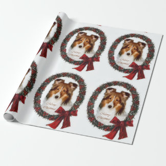 Shetland Sheepdog Christmas Wreath Wrapping Paper