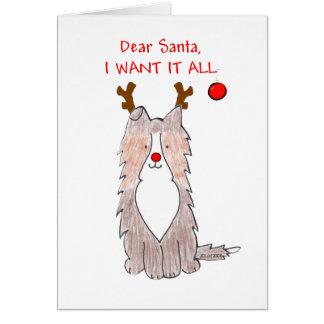 Shetland Sheepdog Dear Santa Card