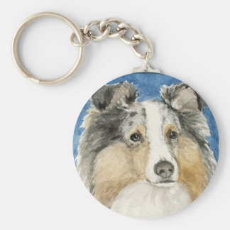 """Shetland Sheepdog"" Dog Art Keychain"