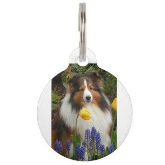 shetland sheepdog in flowers pet tag