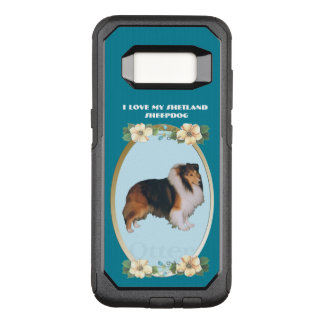 Shetland Sheepdog on Teal Floral OtterBox Commuter Samsung Galaxy S8 Case