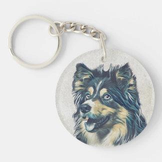 Shetland Sheepdog Painting Custom Keychain