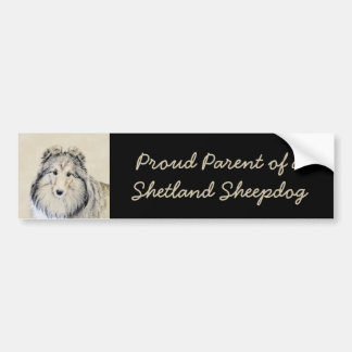 Shetland Sheepdog Painting - Cute Original Dog Art Bumper Sticker