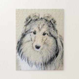 Shetland Sheepdog Painting - Cute Original Dog Art Jigsaw Puzzle