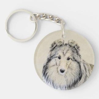 Shetland Sheepdog Painting - Cute Original Dog Art Keychain