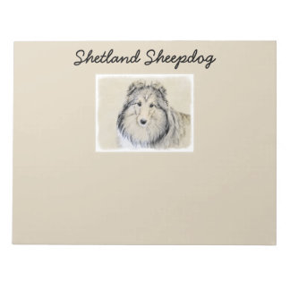 Shetland Sheepdog Painting - Cute Original Dog Art Notepad