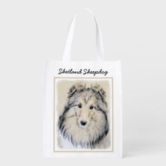 Shetland Sheepdog Painting - Cute Original Dog Art Reusable Grocery Bag