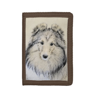 Shetland Sheepdog Painting - Cute Original Dog Art Tri-fold Wallet
