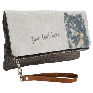 Shetland Sheepdog Painting Fold-Over Clutch