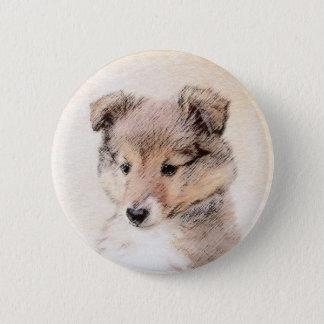 Shetland Sheepdog Puppy Painting Original Dog Art 2 Inch Round Button