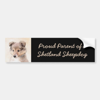 Shetland Sheepdog Puppy Painting Original Dog Art Bumper Sticker