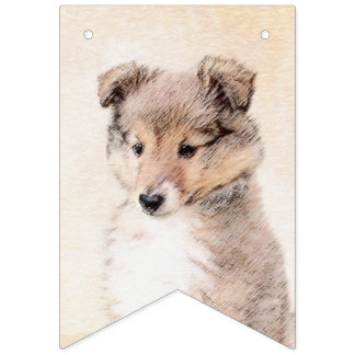 Shetland Sheepdog Puppy Painting Original Dog Art Bunting Flags