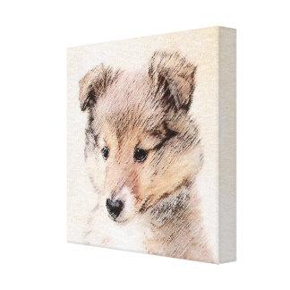 Shetland Sheepdog Puppy Painting Original Dog Art Canvas Print